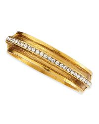 Jose & Maria Barrera | Metallic Hammered Gold-plated 1-row Crystal Bracelet | Lyst