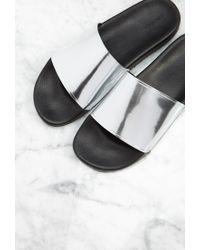 Forever 21 - Metallic Strap Slides - Lyst