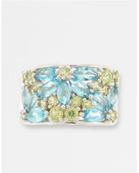 Lord & Taylor | Blue Topaz And Peridot Floral Banded Ring | Lyst