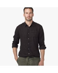 James Perse - Black Canvas Linen Shirt for Men - Lyst