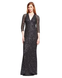 Kay Unger - Gray Sequin Mesh Column Gown - Lyst
