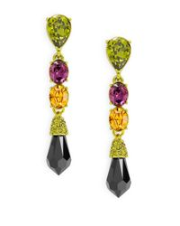 Oscar de la Renta | Green Teardrop Pendant Earrings | Lyst