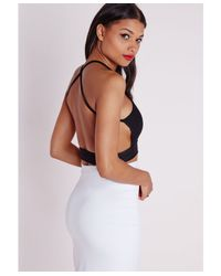 Missguided | Cross Back Crepe Crop Top Black | Lyst