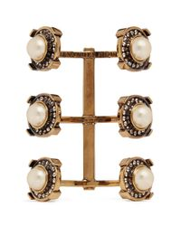 Alexander McQueen | White Military Faux Pearl Strass Triple Brass Cuff | Lyst
