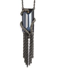 Alexis Bittar | Blue 'serpent' Pendant Necklace - Gunmetal | Lyst