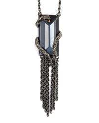 Alexis Bittar - Blue 'serpent' Pendant Necklace - Gunmetal - Lyst