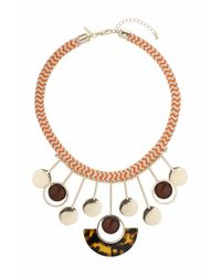 TOPSHOP | Brown Cord And Circle Drop Necklace | Lyst