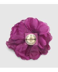 Gucci | Purple Flower Pin In Silk | Lyst