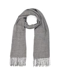 River Island - Gray Black Prince Of Wales Check Scarf for Men - Lyst