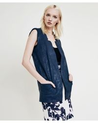 Krisa - Blue Coated Tunic Vest - Lyst
