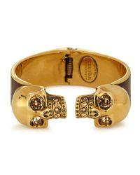 Alexander McQueen | Brown Sado Gold Tone Twin Skull Bracelet | Lyst