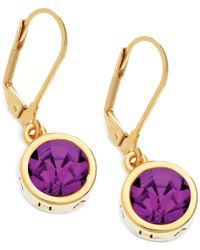 T Tahari - Purple 14K Gold-Plated Faceted Stone Drop Earrings - Lyst