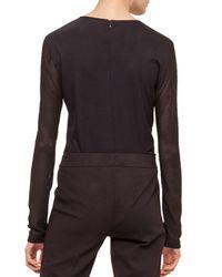 Akris Punto - Black Contrast Net-sleeve Jersey Top - Lyst