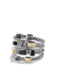 David Yurman | Metallic Confetti Ring With Black Onyx, Black Diamonds And Gold | Lyst