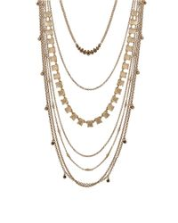 Lucky Brand | Metallic Layered Mixed Chain And Stone Necklace | Lyst