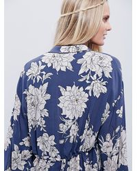 Free People | Blue Shake It Printed Long Sleeve Mini Dress | Lyst