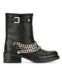 DSquared² | Black Chain-Detailed Leather Biker Boots | Lyst