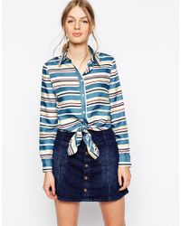 See By Chloé | Blue Striped Tie Front Silk Long Sleeve Shirt | Lyst