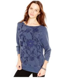 Lucky Brand | Blue Lucky Lotus By Lucky Brand Embroidered French Terry Sweater | Lyst