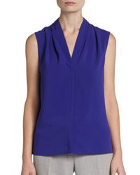 Calvin Klein - Purple Ruched V-Neck Blouse - Lyst
