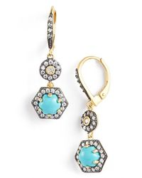 Freida Rothman | Blue 'metropolitan' Stone Two-tone Drop Earrings | Lyst