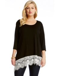 Karen Kane - Black Asymmetrical Lace Hem Top - Lyst