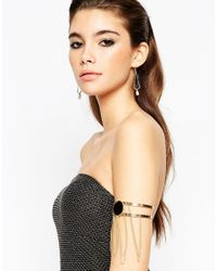 ASOS - Black Night Multi Chain Arm Cuff With Stone - Lyst