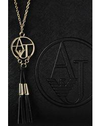 Armani Jeans | Black Saffiano Print Tote Bag With Tassels | Lyst