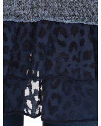 Izabel London Blue Knit Tunic Top With Frill Hemline