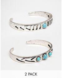 ASOS | Metallic Festival Stone Cut Out Cuff Bracelets | Lyst