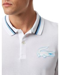 Lacoste | White Striped Collar Slim Fit Polo for Men | Lyst
