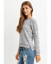Forever 21 | Blue Geo-patterned Raglan Pullover | Lyst