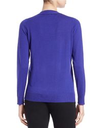 Eileen Fisher | Purple Button-front Wool-blend Cardigan | Lyst