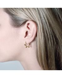 Tada & Toy - Metallic Star Hoops Rose Gold - Lyst