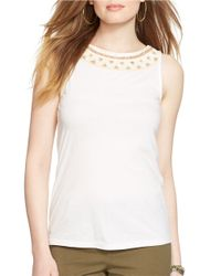 Lauren by Ralph Lauren | White Beaded Cotton Top | Lyst