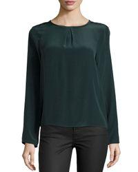 Nicole Miller - Green Syracuse Silk Back-Wrap Top - Lyst