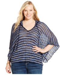 INC International Concepts | Blue Plus Size Hooded Poncho | Lyst
