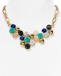 "Aqua - Metallic Rina Bib Necklace, 17"" - Lyst"