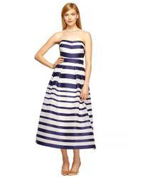 Kay Unger - Blue Silk-Blend Striped Ball Gown - Lyst