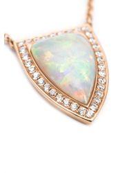 Anita Ko - White Small 18kt Opal And Diamond Pendant Necklace - Lyst