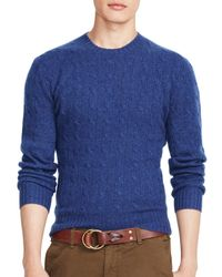 Pink Pony | Blue Polo Cable-knit Cashmere Sweater | Lyst
