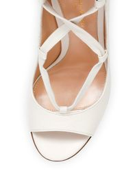 Gianvito Rossi - White Open-toe Leather Lace-up Pump - Lyst