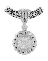 John Hardy - Metallic Diamond Pave Small Circle Enhancer - Lyst