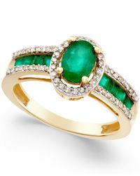 Macy's | Metallic Sapphire (1-3/4 Ct. T.w.) And Diamond (1/4 Ct. T.w.) Ring In 14k Gold (also In Emerald And Ruby) | Lyst