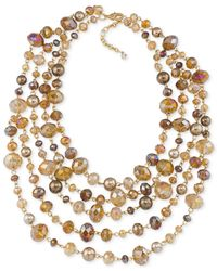 Carolee | Metallic Top Of The Rock Gold-tone Beaded Torsade 5 Row Necklace | Lyst