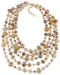 Carolee - Metallic Top Of The Rock Gold-tone Beaded Torsade 5 Row Necklace - Lyst