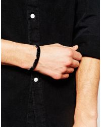 ASOS - Black Bangle With Jagged Edge Finish In Gunmetal for Men - Lyst