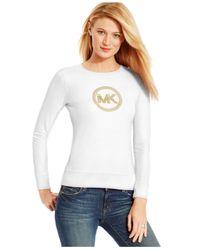 Michael Kors | White Michael Petite Waffle-knit Studded Logo Top | Lyst