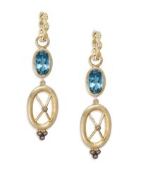 Jude Frances | Metallic London Blue Topaz, Grey Diamond & 18k Yellow Gold Crisscross Earring Charms | Lyst