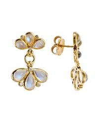 Temple St. Clair - Metallic 18K Gold Fan Drop Earrings With Blue Moonstone And 0.21Tcw Diamonds - Lyst